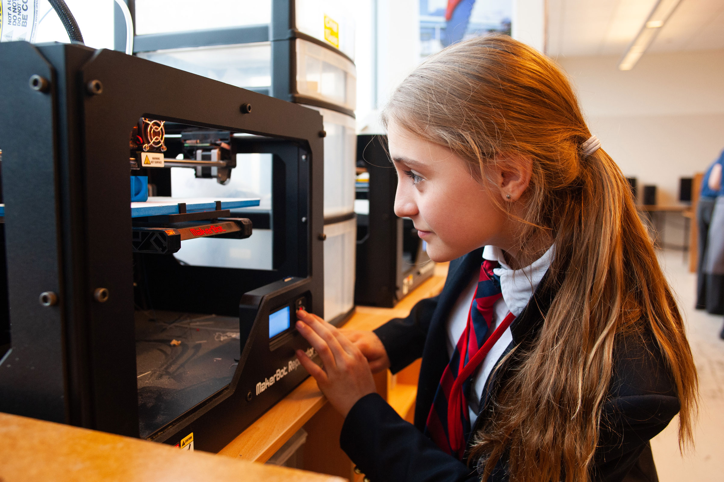 British-School-Editorial-Style-Photography-Young-Girl-Watches-3d-Printer-MakerBot